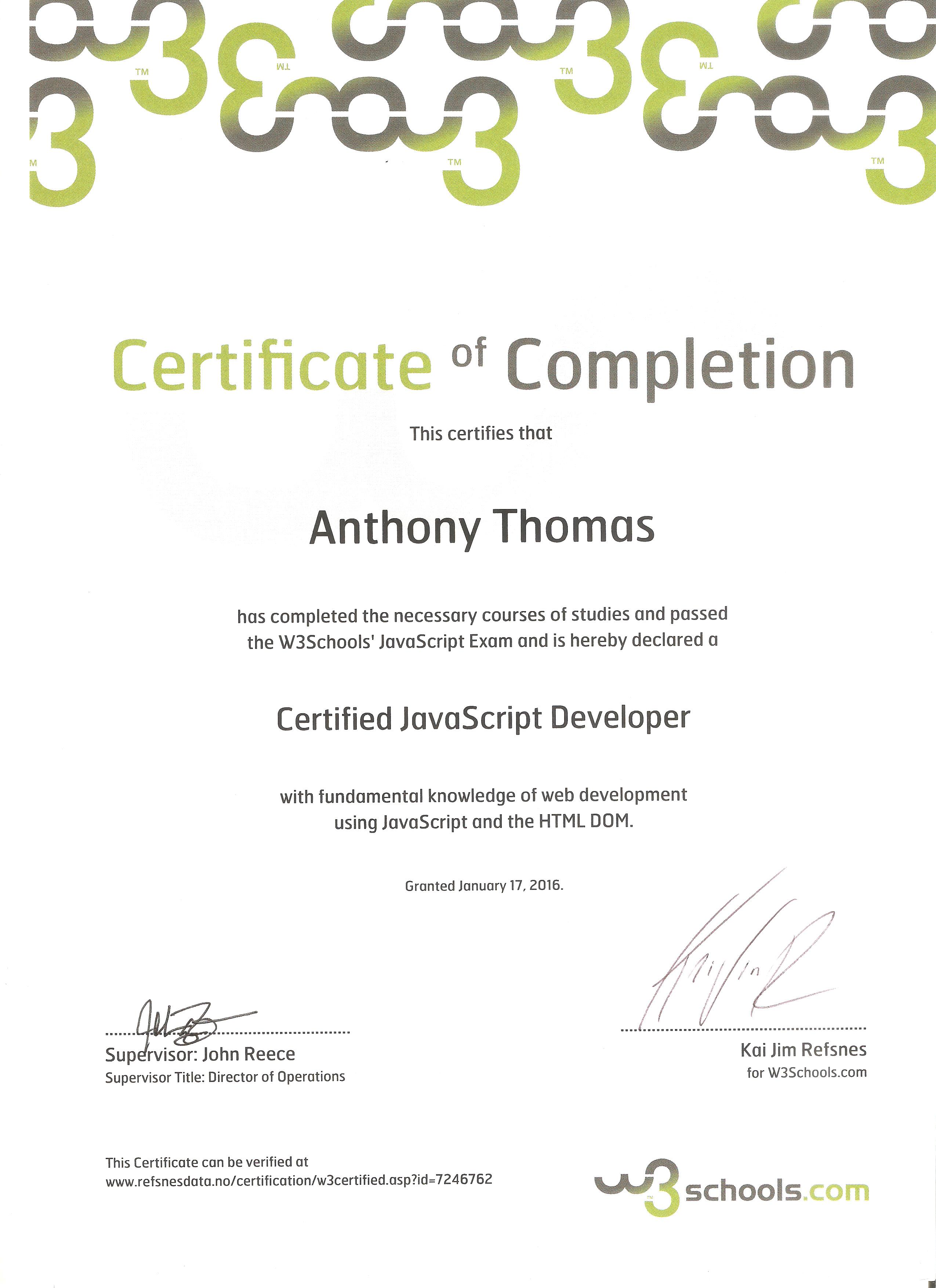 Anthony thomas resume january 2016 css developers certificate w3schools july 2013 html developers certificate w3schools fall 2003 introduction to computers xflitez Images